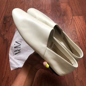 White Flat Loafers